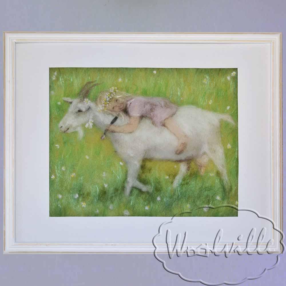 Картина из шерсти Девочка и коза