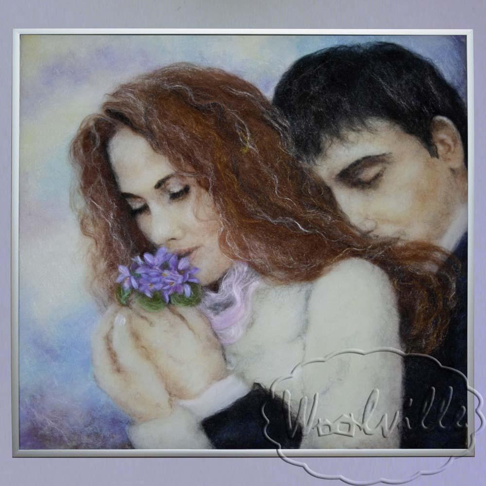 Картина из шерсти Влюбленные