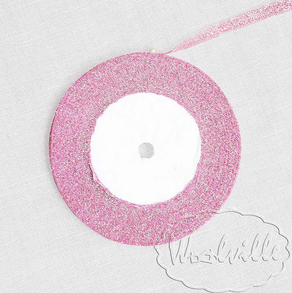 Лента розовая блестящая 7 мм