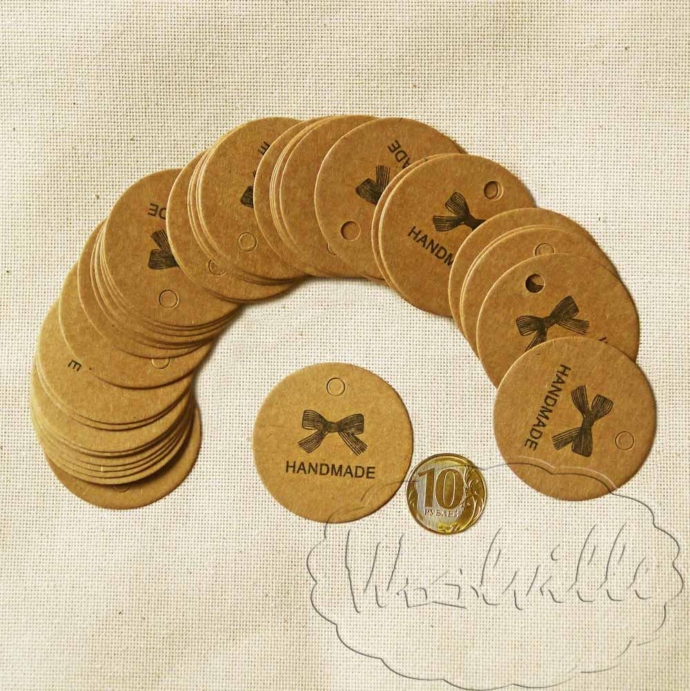Тег бирка крафт handmade 43 мм