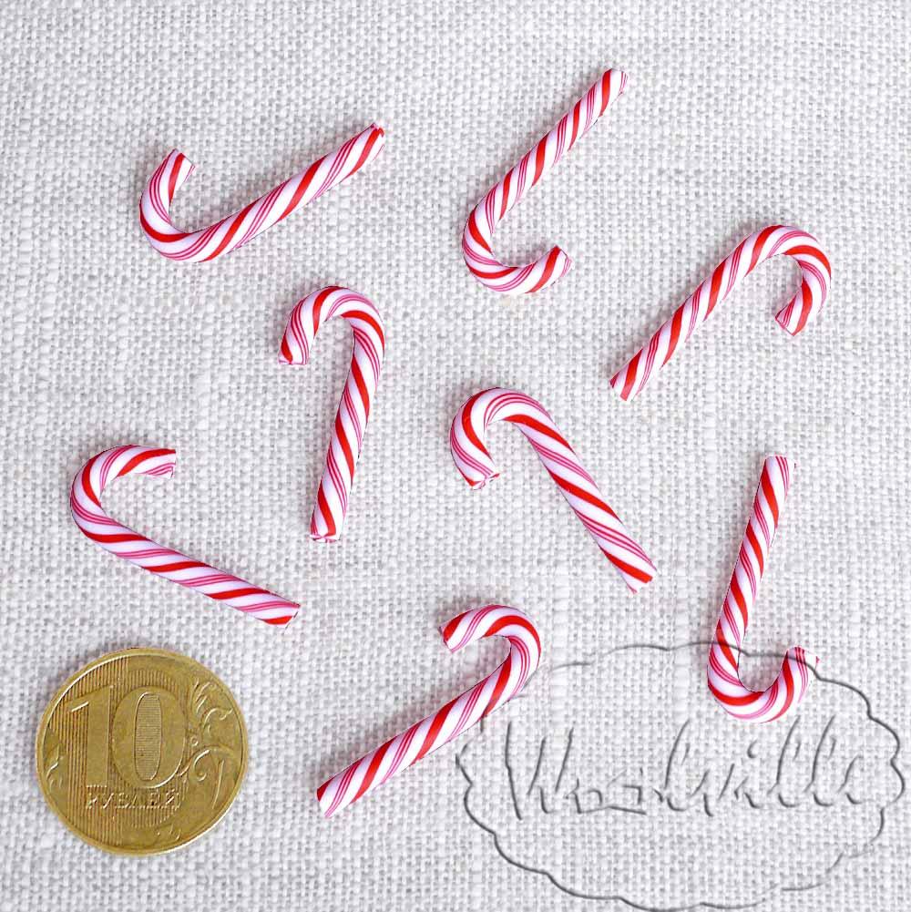 Кукольная миниатюра карамельная трость 30 мм