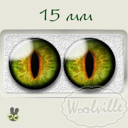 Глазки стеклянные каре-зеленые К 15 мм 2 шт