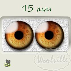 Глазки стеклянные сова карие Р 15 мм 2 шт