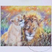 Картина из шерсти Львы