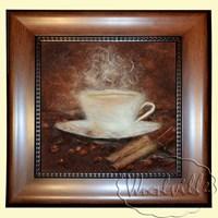 Картина из шерсти Чашка кофе и корица