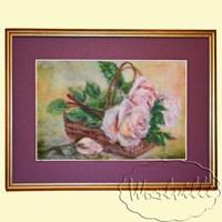 Картина из шерсти Лукошко с розами