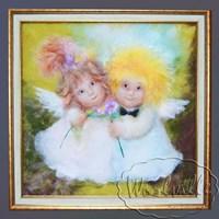 Картина из шерсти Ангелочки