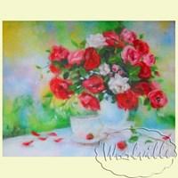 Картина из шерсти Розовый букет