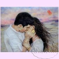 Картина из шерсти Поцелуй