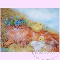 Картина из шерсти Кошкино утро