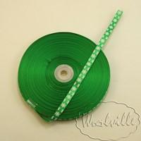 Лента атласная зеленая новогодняя