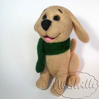 Валяная игрушка собачка Дик