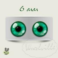 Глазки стеклянные зеленые Н 6 мм 2 шт