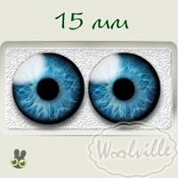 Глазки стеклянные голубые Н 15 мм 2 шт