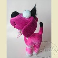 Валяная игрушка собачка розовая 22 см