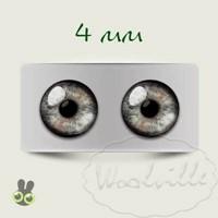 Глазки стеклянные серые Н 4 мм 2 шт