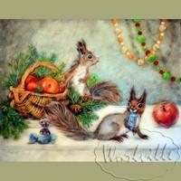 Картина из шерсти Рождественские бельчата