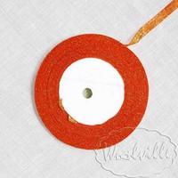 Лента оранжевая блестящая 7 мм