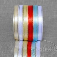Лента атласная бело-серебристая 10 мм