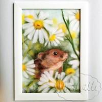 Картина из шерсти Мышка в ромашках