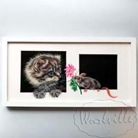 Картина из шерсти Кошка и мышка