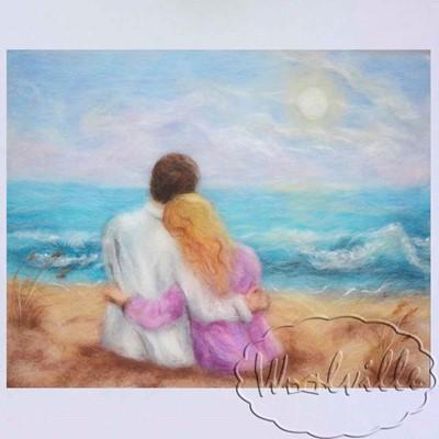 Картина влюбленная пара на пляже