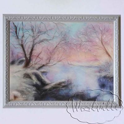 Картина из шерсти Зимнее утро