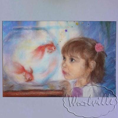 Картина из шерсти Девочка и золотая рыбка