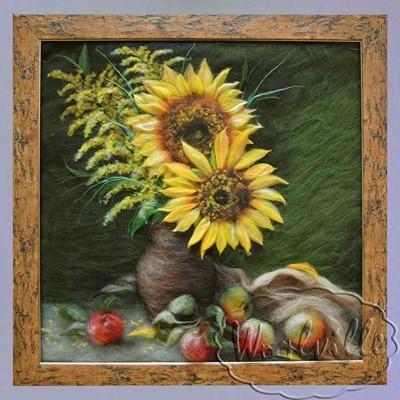 Картина из шерсти Подсолнухи