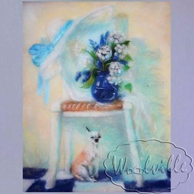 Картина Собака букет и шляпа