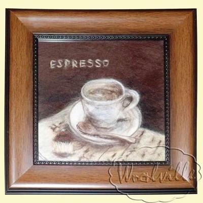Картина из шерсти Эспрессо и мафин