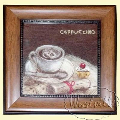 Картина из шерсти Капучино