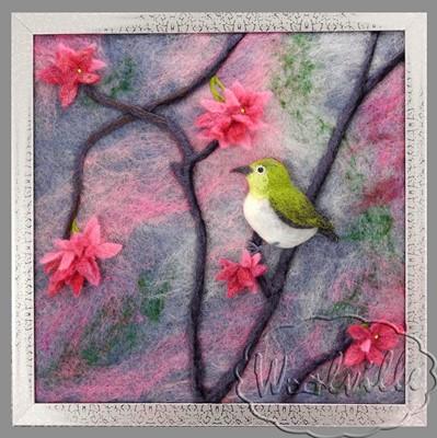 Картина из шерсти Сакура в цвету