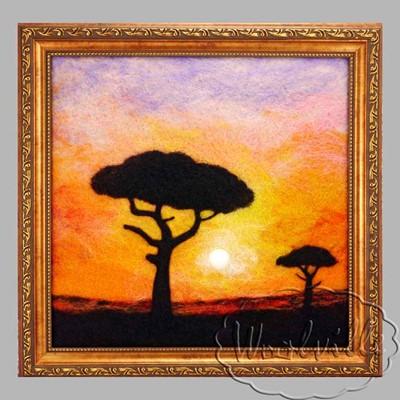 Картина из шерсти Вечерняя Саванна
