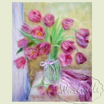 Картина из шерсти Ваза с тюльпанами