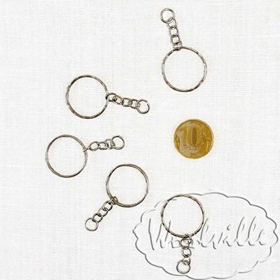 Кольцо с цепочкой рельефное 24 мм