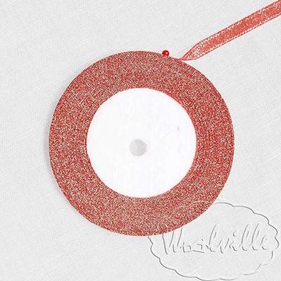 Лента красная блестящая 7 мм