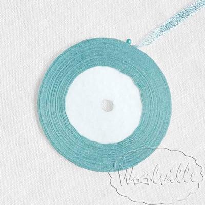 Лента голубая блестящая 7 мм