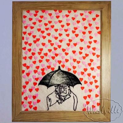 Картина из шерсти сердца